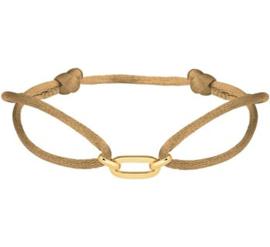 Caramel Gevlochten Armband 14 K Gouden Schakels (Verstelbaar)
