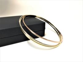 14 K Gouden 3-Band Trinity Rinkel Armbanden Set - 13,2 g / 6,6 cm