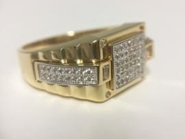 14 K Gouden Heren Rolex Ring  Zirkonia - 8,8 g