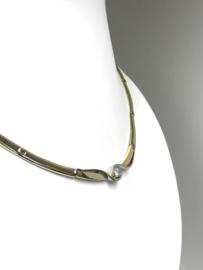 14 K Bicolor Gouden Schakel Collier 0.30 crt Diamant D/G-VVS1 20,2 g