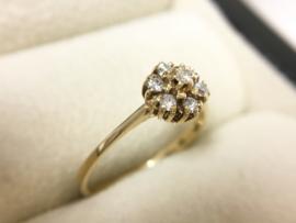 Le Chic 14 K Gouden Rozet Ring 0.21 crt Briljantgeslepen Diamant