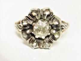 Antiek 14 K Gouden Rozet Ring ca 0.50 crt Roosgeslepen Diamant
