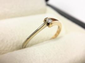 Le Chic 14 K Bicolor Gouden Ring 0.09 crt Briljantgeslepen Diamant
