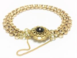 Antiek 14 K Gouden Schakel Armband met Granaat Bakslot - Amsterdam ca 1920