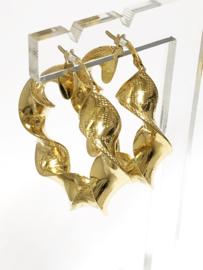14 K Gouden Wokkel Creolen Versace Motief - 3,5 cm