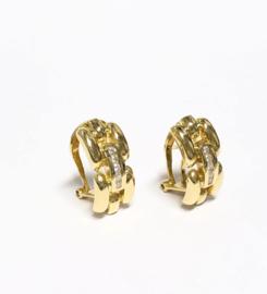 18 K Gouden Schakel Oorstekers 0.10 crt Briljantgeslepen Diamant G / VS2