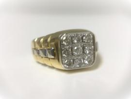 18 K Bicolor Gouden Rolex Ring (Pink Ring) 0.70 crt Diamant - 7,8 g