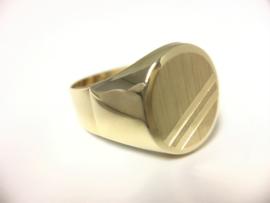 14 K Gouden Heren Zegel Ring (gematteerd)