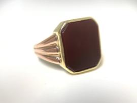 14 K Antiek Gouden Heren Zegelring Rosé Accenten - Carneeol