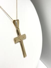 18 K Gouden Hanger - Kruis (Bewerkt)
