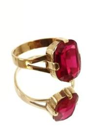 Antiek Handvervaardigd 14 K Gouden Robijn Ring