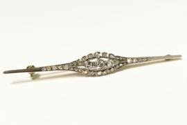 Antiek Gouden Broche ca 0.50 crt Diamant - Roos Slijpsel / Oud Europees Slijpsel