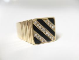 18 K Gouden Heren Ring Onyx / Briljantgeslepen Diamant - 9,45 g