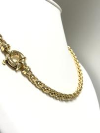 14 K Gouden Slot Collier Vlecht Schakel - 47,5 cm / 32,84 g