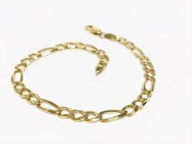 14 K Massief Gouden Figaro Schakel Armband - 23 cm / 11 g