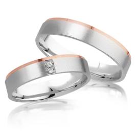 Trouwringen Bicolor Goud 14 Karaat 0.03 Diamanten - Model FL99