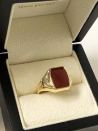 14 K Antiek Handvervaardigd Gouden Heren Zegelring Carneool
