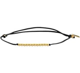 Verstelbare Armband Katoen 13 - 19 cm / 14 K Goud Zwart
