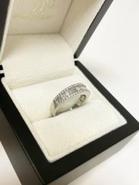 14 K Witgouden Bandring 1.0 crt Briljant / Baguette Diamant - G/VS2