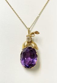 Antiek Gouden Hanger Roosgeslepen Diamant / Paars Saffier