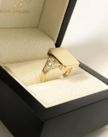 Handvervaardigd 14 K Antiek Massief Gouden Zegelring