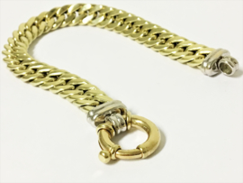 14 K Gouden Gourmet Slot Armband met Rosé Veerringslot