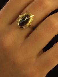 14 K Antiek Gouden Granaat Ring