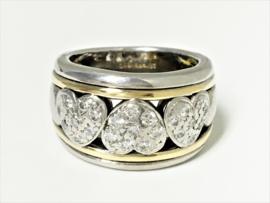Grove 18 K Bicolor Gouden Ring 0.48 crt Briljantgeslepen Diamant - 16,3 g
