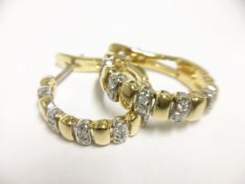 18 K Bicolor Gouden Oorhangers 0.20 crt Briljantgeslepen Diamant H / VS1