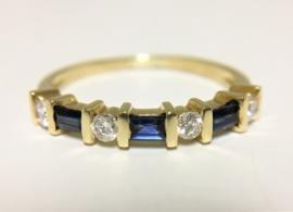 18 K Gouden Rijring 0.20 crt Briljantgeslepen Diamant / Saffier