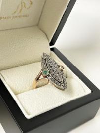 Handvervaardigd Antiek Gouden Markies Ring Diamant / Smaragd