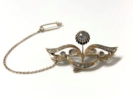 Antiek Gouden Broche Roosgeslepen Diamanten - ca 1900