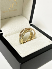18 K Tricolor Massief Gouden 3-Band Ring - Trinity Stijl