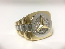 14 K Bicolor Gouden Mercedes Rolex Ring Zirkonia - 9,3 g