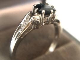14K Witgouden Ring Saffier Briljantgeslepen Diamant