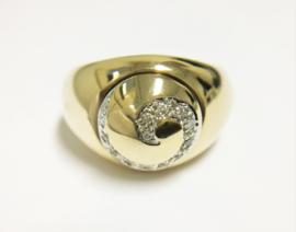 Grove 14 K Gouden Ring Draaibare Ringkop Met 0.12 crt Diamant - 8,7 g