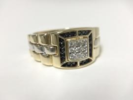 14 K Bicolor Gouden Heren Rolex Ring  Zirkonia - 6,9 g