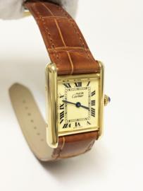 Must de Cartier Tank Quartz Roman Dial - Incl Cartier Garantie / Alligator Goud