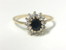 14 K Gouden Rozet Ring Saffier / Zirkonia