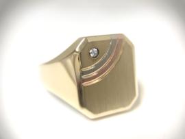 14 K Gouden Heren Zegelring Briljantgeslepen Zirkonia - 7,3 g