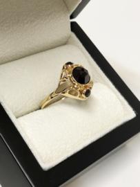 Handvervaardigd Antiek Gouden Ring Facet Geslepen Granaat