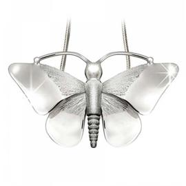 Ashanger Vlinder Zilver Incl Zilveren Slangen Collier - 45 cm