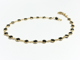 14 K Gouden Fantasie Armband Onyx - 19 cm