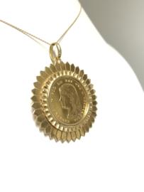 18 K Gouden Hanger Gouden Tientje Wilhelmina Lang Haar - 1897