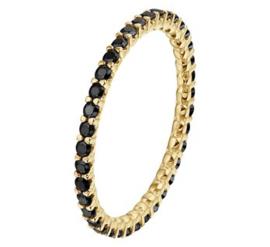 14 K Gouden Bijzet Ring Briljantgeslepen Zwart Zirkonia