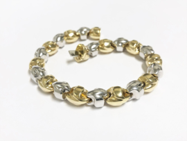Grove 14 K Bicolor Gouden Fantasie Schakel Armband - 21,5 cm / 19,6 g
