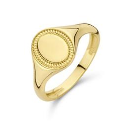 14 K Gouden Dames Zegelring Graveer Ring Ovaal