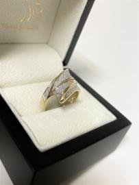 14 K Gouden Slagring 0.26 Crt Briljant Geslepen Diamant