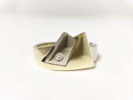 14 K Bicolor Gouden Heren Ring 0.05 crt Briljantgeslepen Diamant - 10,5 g