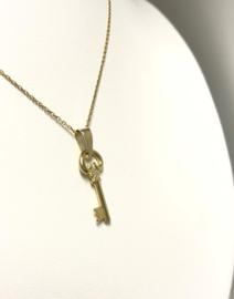 14 K Gouden Ketting Hanger - Sleuteltje